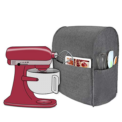 Luxja Dust Cover Compatible with 6-8 Quart KitchenAid Mixers, Cloth Cover with Pockets for KitchenAid Mixers and Extra Accessories (Compatible with All 6-8 Quart KitchenAid Mixers), Gray