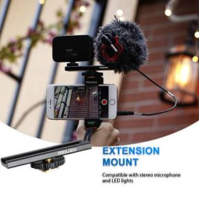 Smartphone-Video-Rig-Cell-Phone-Video-Recording-Kit-Vlogging-Stabilizer-Equipment-with-Cardioid-MicrophoneSelfie-LED-Light-Solid-Aluminum-Cold-Shoe-Extension-Bar-Compatible-with-iPhone-Smartphones