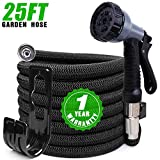 Expandable Garden Hose 25ft, Kink Free Water Hose with 10 Functions Nozzle, Flexible Hose Outdoor Yard Hose Lightweight Expanding Garden Hose Black, Freshwater Hoses