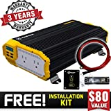 KRIËGER 1500 Watt 12V Power Inverter, Dual 110V AC outlets, Installation kit Included, Back up Power Supply for Small appliances, MET Approved According to UL and CSA Standards.
