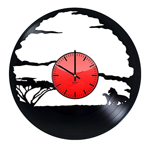 Lion Movie HANDMADE Vinyl Record Wall Clock - Get unique living room, kids room wall decor - Gift ideas for boys and girls – African Lion Unique Modern Art Design