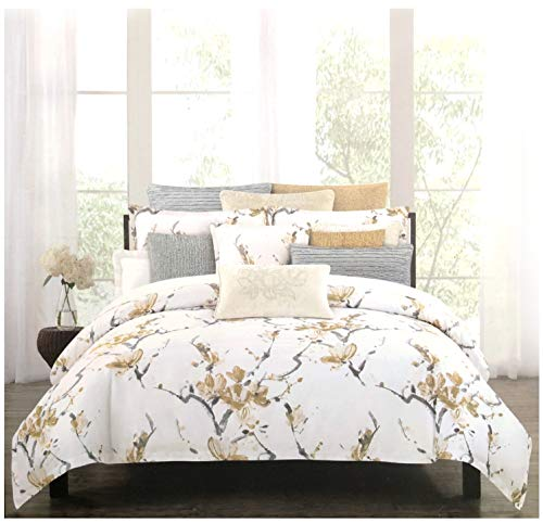 Nicole Miller Home 3 PC Queen Duvet Cover Set Floral Botanical Terry Garden Pattern Flowers in Shades of Gray on Light Pink White Background