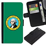 [Washington WA State Flag] for Samsung Galaxy S8 Active, Flip Leather Wallet Holsters Pouch Skin Case