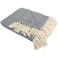 "DII Rustic Farmhouse Cotton Chevron Blanket Throw with Fringe For Chair, Couch, Picnic, Camping, Beach, & Everyday Use , 50 x 60"" - Mini Chevron Nautical Blue"