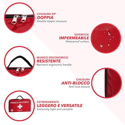 AIESI® Botiquin de Primeros Auxilios profesional para coche casa moto viaje trekking con TERMOMETRO Y DESINFECTANTE # Bolsa de emergencia completa para medicacion # Made in Italy 5