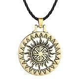 AILUOR Handcrafted Viking Norse Amulet Pendant Necklace, Vintage Sun Wheel Kolovrat Celtic Pagan Slavic Symbol Warrior Talisman Necklace Jewelry Men Unisex (Bronze)