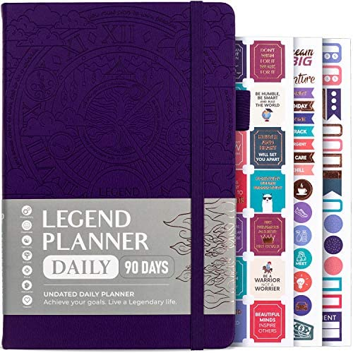Legend Planner Daily for 3 Months - Undated Deluxe Monthly Weekly & Daily Planner to Hit Your Goals & Live Happier. Organizer Notebook & Productivity Journal. A5 Hardcover + Stickers - Dark Purple 1