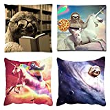 Emvency Set of 4 Throw Pillow Covers Funny Sloth Riding Unicorn Vintastore Reading Books a Household Without Decorative Pillow Cases Home Decor Square 18x18 Inches Pillowcases