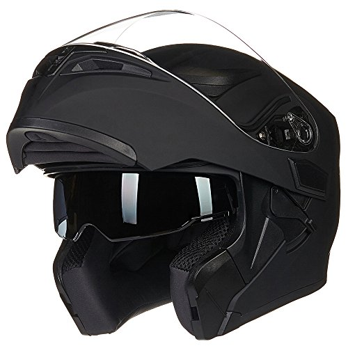 ILM Motorcycle Dual Visor Flip up Modular Full Face Helmet DOT with 6 Colors (L, MATTE BLACK)
