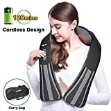 TENKER Shiatsu Cordless Neck Back and Shoulder Massager with Heat -Adjustable Intensity, Rechargeable Use to Relieve Muscle Pain, with Portable Handbag