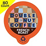 Double Donut Gourmet Dark Roast Coffee, in Recyclable Single Serve Cups for use with all Keurig K-Cups Brewers, 80 Count (French Roast)