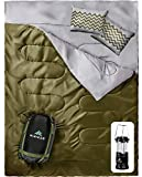 HiHiker Double Sleeping Bag Queen Size XL - Bonus Camping Light - for Camping, Hiking Backpacking and Cold Weather, Portable, Waterproof and Lightweight - 2 Person Sleeping Bag for Adults and Teens