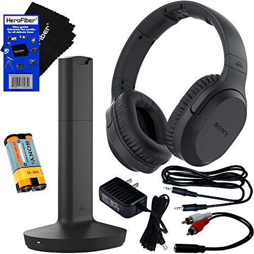 Sony Wireless Over-Ear Noise Reduction Headphones (WHRF400R) with Transmitter Dock (TMRRF400) + Sony Rechargeable Battery + Connecting Cables + AC Adaptor + HeroFiber Cleaning Cloth