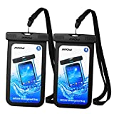 Mpow Universal Waterproof Case, IPX8 Waterproof Phone Pouch Dry Bag Compatible for iPhone Xs Max/Xs/Xr/X/8/8plus/7/7plus/6s/6/6s plus Galaxy s9/s8/s7 Note 9/8 Google Pixel HTC12 (Black 2-Pack)