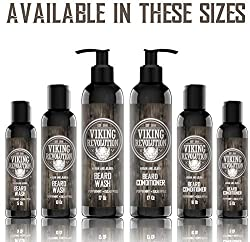 Viking Revolution Beard Wash & Beard Conditioner Set w/Argan & Jojoba Oils – Softens, Smooths & Strengthens Beard Growth - Natural Peppermint and Eucalyptus Scent - Beard Shampoo w/Beard Oil (5 oz)  Image 4