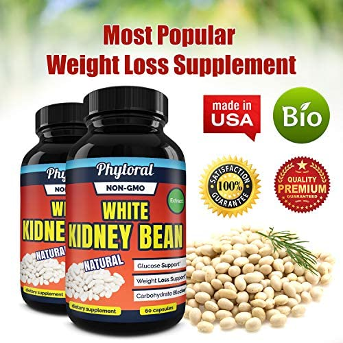 White Kidney Bean Supplement Pills Pure Extract Starch Carb Blocker Weight Loss Formula - Lose Belly Fat Suppress Appetite Boost Metabolism Natural Weight Loss for Men and Women by Phytoral 10