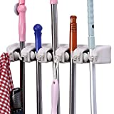 ONMIER Mop and Broom Holder, Multipurpose Wall Mounted Organizer Storage Hooks, Ideal Tools Hanger for Kitchen Garden, Garage, laundry room (5 Position 6 Hooks)