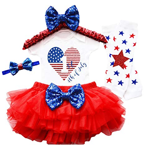 MELEYISH My 1st 4th of July Baby Girls Outfit 4PCs Rompers+Tutu Dresses +Headband +Leggings 9-12 Months Red