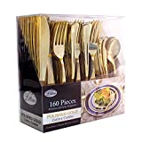 Lillian Tablesettings 37283 Plastic Cutlery Silverware Extra Heavyweight Disposable Flatware, Full Size Cutlery Combo, Polished Gold, 80 Forks, 40 Spoons, 40 Knifes, Value Pack 160 Count