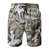 Realtree Camo Wallpapers Men Quick Dry Stripe Swim Trunks Mesh Lining Beach Shorts with Adjustable Pull Cord