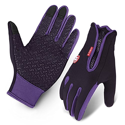 Cycling Gloves, Waterproof Touchscreen in Winter Outdoor Bike Gloves Adjustable Size- Purple (Large)