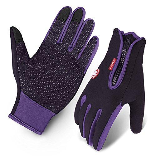 Cycling Gloves, Waterproof Touchscreen in Winter Outdoor Bike Gloves Adjustable Size- Purple (Large)