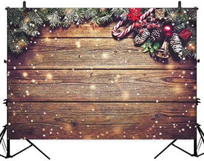 Allenjoy-10X65ft-Christmas-Polyester-Photography-Backdrop-Snowflake-Gold-Glitter-Xmas-Wood-Wall-Rustic-Barn-Vintage-Wooden-Floor-Background-for-Kids-Portrait-Photo-Studio-Booth-Photographer-Props