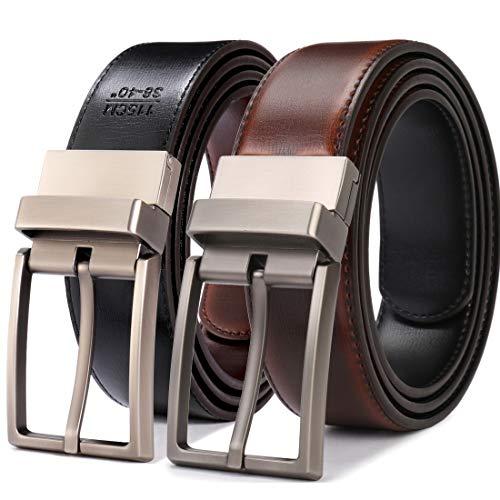 Beltox Fine Men's Dress Belt Leather Reversible 1.25' Wide Rotated Buckle Gift Box(Cognac/Black,32-34)