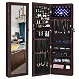 SONGMICS 6 LEDs Jewelry Cabinet Lockable Wall/Door Mounted Jewelry Armoire Organizer with Mirror 2 Drawers Brown UJJC93K