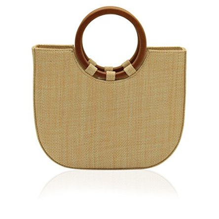 Women's Straw Top Handle Tote Shoulder Handbag With Leather Strap for Summer (Big)