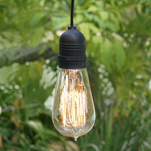 Fantado Single Socket Black Weatherproof Outdoor Pendant Light Lamp Cord, 15FT, by PaperLanternStore
