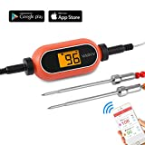 VADIV BBQ Meat Thermometer Wireless APPs(Android&iOS) Remote Controlled Cooking Food Gauge with 2 Stainless Steel Probes for Barbecue Smoker Grilling Oven