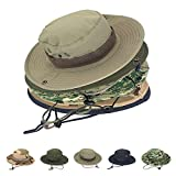 AYAMAYA Summer Mens/Womens Safari Hat, Wide Brim Fishing Caps Sun Protection Boonie Hats Breathable Quick Drying Outdoor UV Protective Sun Visor Bucket Cap for Hunting Camping Travelling - Khaki