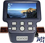 zonoz FS-Four Digital Film & Slide Scanner w/HDMI Output - Converts 35mm, 126, 110, Super 8 & 8mm Film Negatives & Slides to JPEG - Includes Large Bright 5-Inch LCD, Easy-Load Film Inserts Adapters