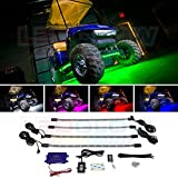 LEDGlow 4pc. Million Color LED Golf Cart Underbody Underglow Light Kit...