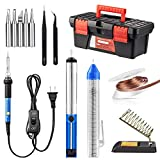 Soldering Iron Kit, Including 60W Temperature Control Soldering Iron with ON/Off Switch, Tips, Solder Sucker, Desoldering Wick, Solder Wire, Anti-Static Tweezers and Stand (A)