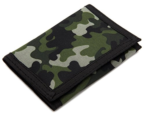 RFID Trifold Canvas Outdoor Sports Wallet for Kids - Front Pocket Wallet with Magic Sticker - Green