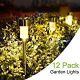 SUNNEST Solar Garden Lights Outdoor 12 Pack, LED Solar Powered Pathway Lights, Stainless Steel Landscape Lighting for Lawn, Patio, Yard, Walkway, Driveway Warm White