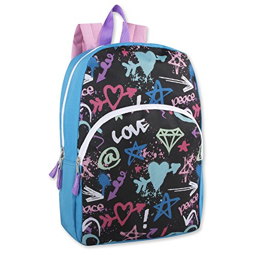 Trail maker Character Backpack (15') with Fun Fashionable Design for Boys & Girls (Love)