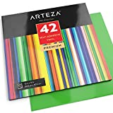 ARTEZA Self Adhesive Vinyl Sheets, 12'x12', Assorted Colors, Pack of 42, Waterproof and Easy to Weed & Cut, for Indoor & Outdoor Projects, Compatible with Cricut & Other Craft Cutters