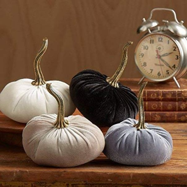 Velvet Pumpkins, SET of 4: Gray, Black, Ivory, Taupe, Home Decor, Holiday Mantle Decor, Centerpiece, Fall, Halloween, Thanksgiving