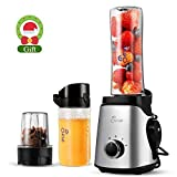 JESE Personal Blender, Mini Blender for Smoothies with Electric Vacuum Assembly, 2-in-1 Single Serve Blender, Portable Tritan Bottles 20oz/14oz with Travel Lid to Go, Smoothie Maker with Recipe Book