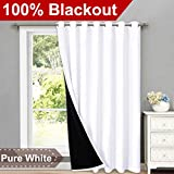 NICETOWN Full Shading Curtains for Patio Door, Super Heavy-Duty Thermal Backing Sliding Glass Door Drape with Silver Grommet, Privacy Assured Window Treatment(1 Panel, 100' W x 84' L, Pure White)