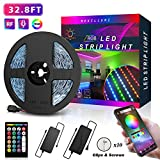 Nexillumi 32.8 Foot/10M, APP Control Color Changing LED SMD 5050 RGB Light Strips with RF Remote, Sync to Music for Rooms, Party, Interior Decoration 32.8ft, (Red, Green, Blue)