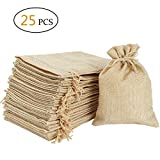 Burlap Bags 5''x7'' with Drawstring - Natural Linen Gift Bags Jewelry Sacks Strong Small Liner Pocket for Festivals, DIY Craft, Present, Parties, Snacks,Jewelry and Anniversaries
