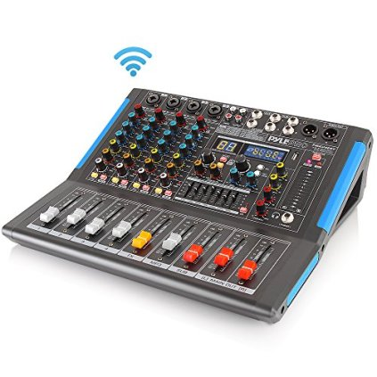 4-Channel-Bluetooth-Studio-Audio-Mixer-DJ-Sound-Controller-Interface-with-USB-Drive-for-PC-Recording-Input-XLR-Microphone-Jack-48V-Power-InputOutput-for-Professional-and-Beginners-PMXU46BT