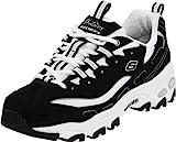 Skechers Sport Women's D'Lites Lace-Up Sneaker, Black/White, 9 M US