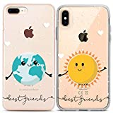 Lex Altern iPhone Case Xs Max X Xr 10 8 Plus 7 6s 6 SE 5s 5 Couple TPU Earth Sun Best Friends Clear Cute Kawaii Gift Funny Apple BFF Soulmate Phone Cover Print Planet Protective Girl Silicone Sister