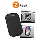 Insten [2-Pack] Anti-Slip Car Dash Sticky Gel Pad Non-Slip Universal Mount Holder Mat 5.7' x 3.5' Compatible with Keychain Cell Phone iPhone 11/11 Pro/11 Pro Max/X/XS/XS Max/XR/8/7 + S9 S10/S10+/S10e