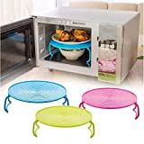 3 in 1 Microwave Tray, Multi-functional Plate Stacker,The Ultimate Multifunctional Microwave Accessory, Functions as Plate Cover, Tray with Handles, and Plate Stacker
